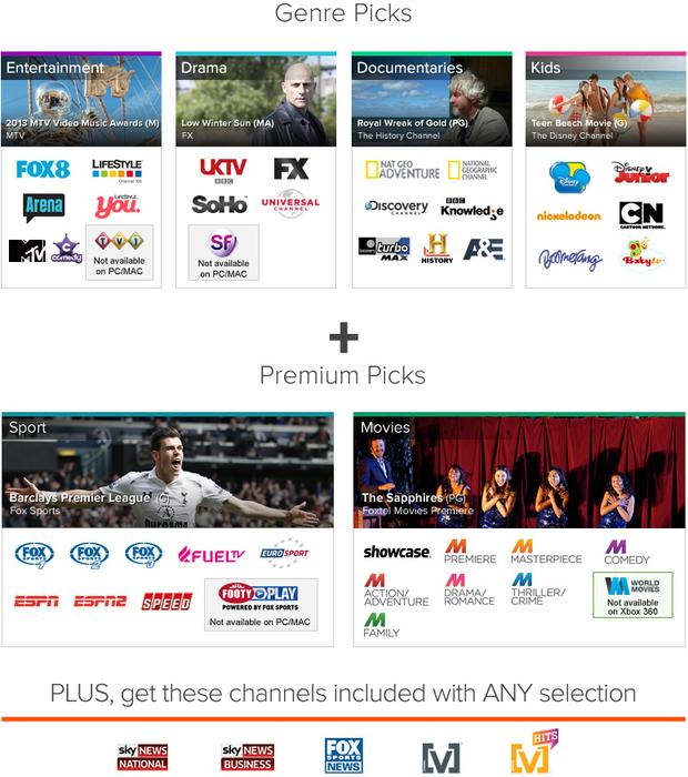 The packages available through the Foxtel Play IPTV service, as of tomorrow.