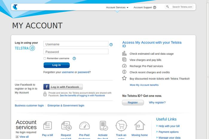 The fake Telstra account login page