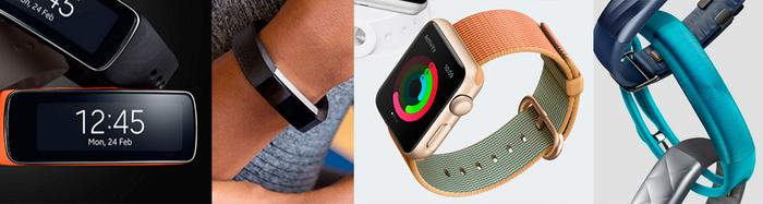 (From L to R) Samsung Gear Fit, Fitbit, Apple Watch and Jawbone