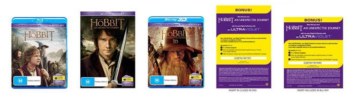 Examples of the UltraViolet badging on The Hobbit DVD and Blu-ray, and the redemption code slip inside the disc cases' covers.