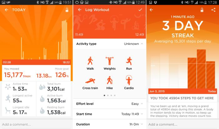 Left to right: step data, logging an activity, getting a reward for consistent stepping.