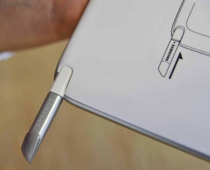 The S-Pen is stored in the bottom right corner of the Galaxy Note 10.1.