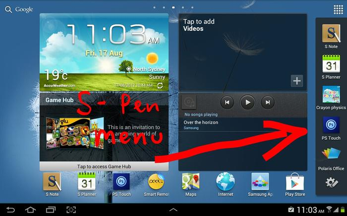 A convenient quick launch menu appears when you remove the S Pen from the Galaxy Note 10.1