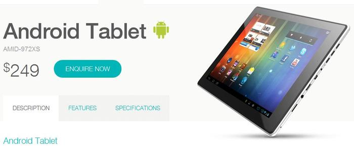 The AMID-972XS Android tablet as it appears on the Bauhn Web site.