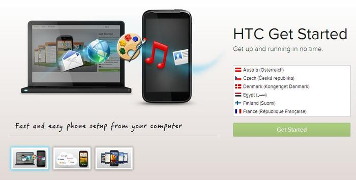 'HTC Get Started' is a Web-based app that runs through the set-up process on a desktop Web browser.