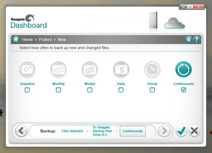 Seagate Dashboard 2.0: if you don't want backups to be continuous, you can select their frequency manually.