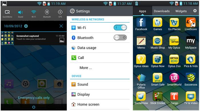 We like the quick toggles in the notification pull-down (left), but the Optus apps (right) are overkill.