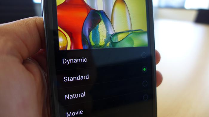 If you're not happy with the colours on the Samsung Galaxy Note II, you can choose four presets.