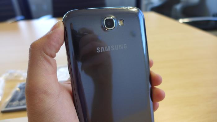 The glossy finish on the Galaxy Note II is hard to keep clean and looks a little cheap, in our opinion.