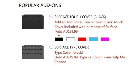 Microsoft will sell the Touch Cover ($139.99) and the Type Cover ($149.99) as optional accessories for the Surface.