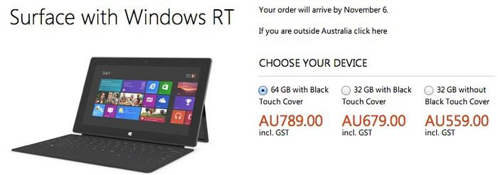 The Australian pre-order page for the Microsoft Surface RT.