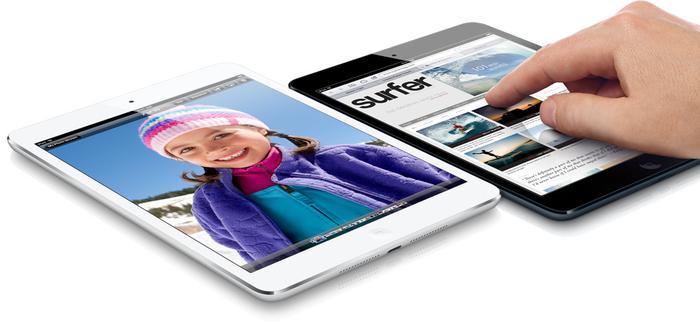 The iPad mini has a third larger display area than the Google Nexus 7 and a 50 per cent larger display area in the browser.