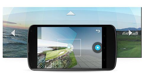 A 360 degree panorama mode called photo sphere allows users to capture a scene in multiple directions including above and below.