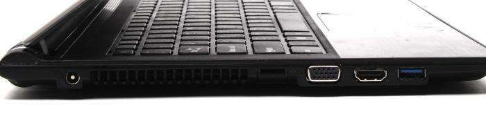 Left side ports: power, Gigabit Ethernet, VGA, HDMI, USB 3.0.