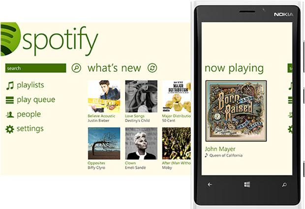 The interface of Spotify for Windows Phone 8.