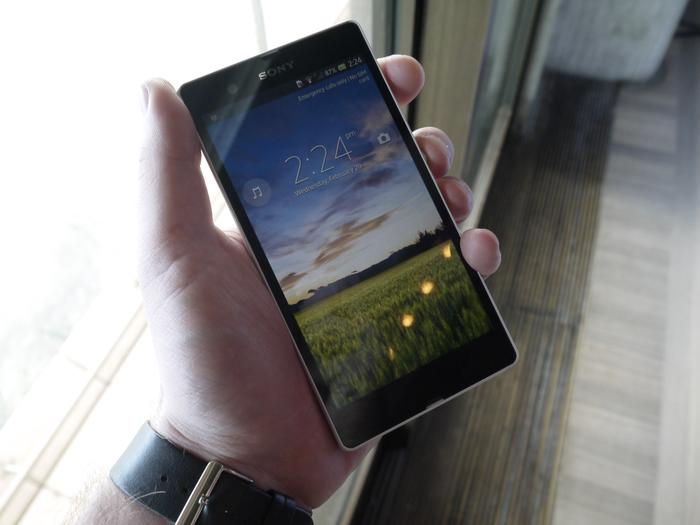 The Sony Xperia Z being demonstrated at today's media event in Sydney.