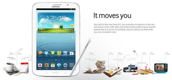 The Samsung Galaxy Note 8.0, as it appears on the company's website.