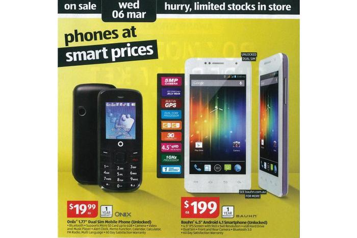 The current Aldi catalogue advertising the Onix and Bauhn-branded phones. (Image credit: Ausdroid)