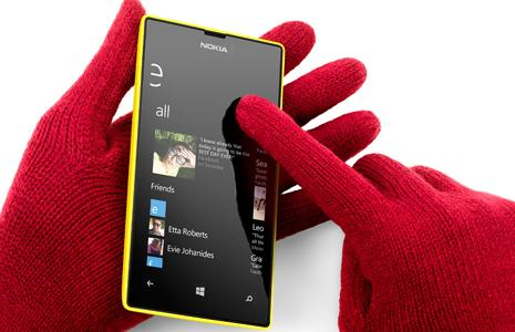 Nokia says the Lumia 520's screen will respond to touches even while wearing gloves.
