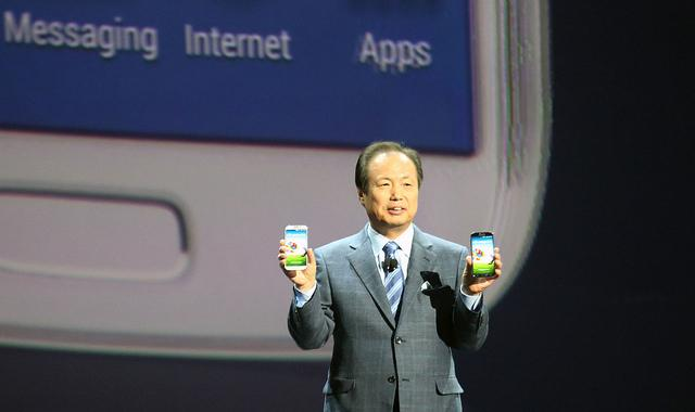 Samsung's head of mobile communications, JK Shin, with the Galaxy S4.