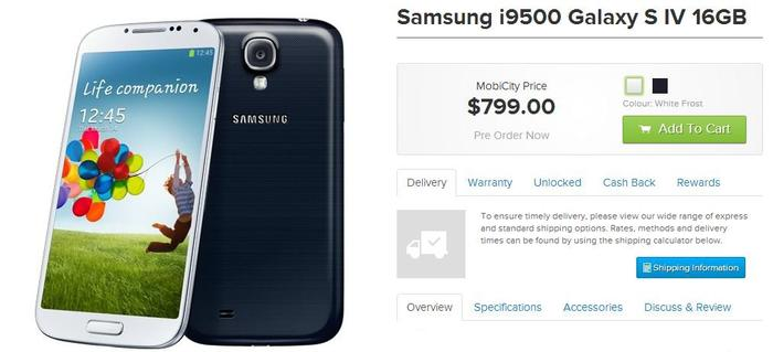 MobiCity's pre-order page for the Samsung Galaxy S4.
