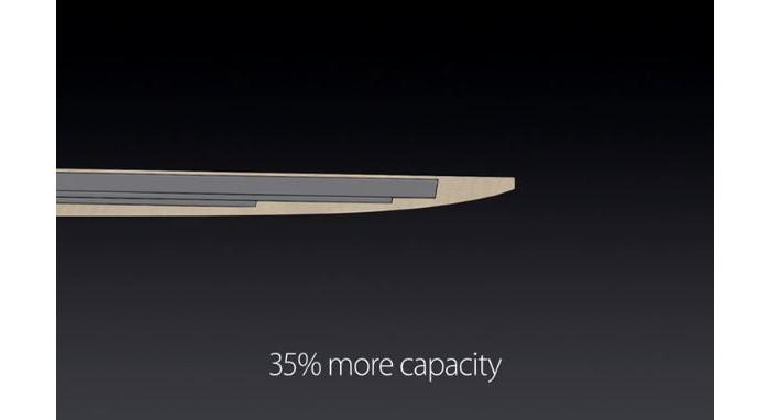 A terraced battery fitting precisely inside the MacBook's body.