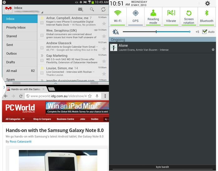 The multi-screen feature on the Galaxy Note 8.0 left) and the notifications panel (right).