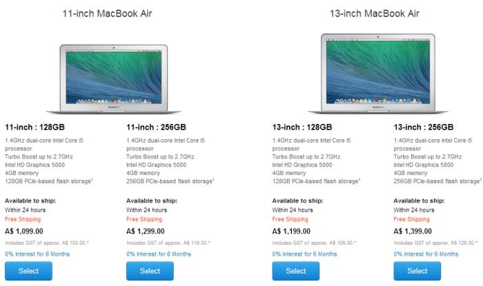 New MacBook Air pricing as of 30 April 2014.