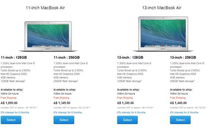MacBook Air pricing from 28 April 2014.