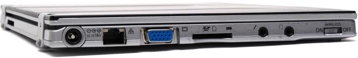 The left side has the power, Ethernet, VGA, SD and audio ports.