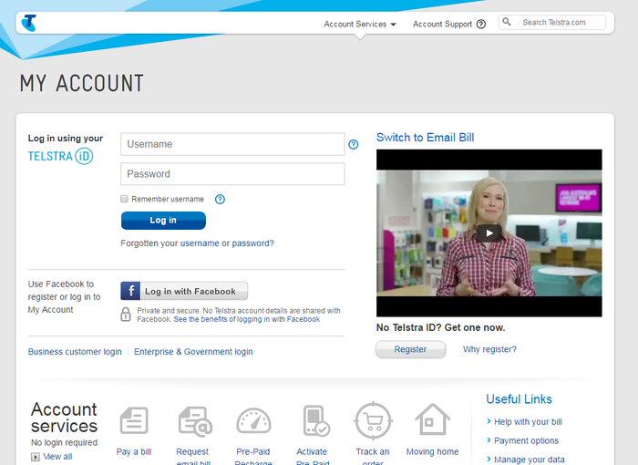 The legitimate Telstra account login page