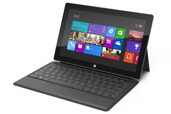 The Microsoft Surface RT tablet, pictured here with the Type Cover accessory.