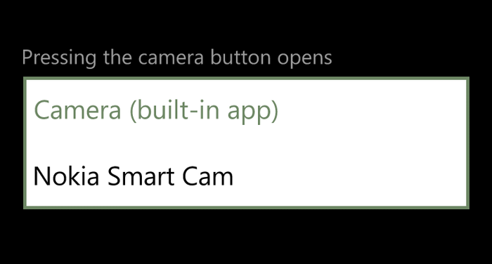 Nokia's Smart Cam app can be set as the default camera application.