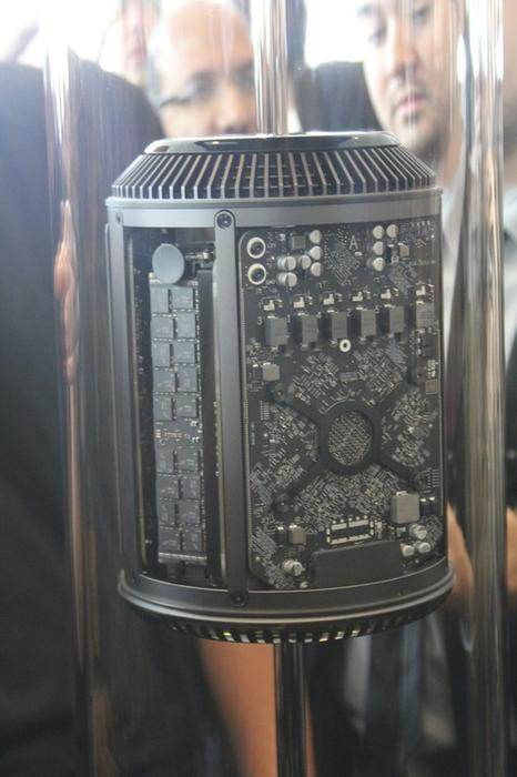 The new Mac Pro on display at WWDC 2013.