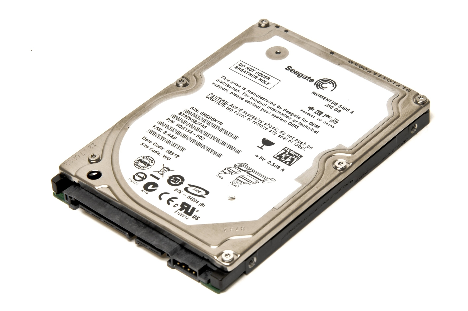 Seagate Momentus 54004 250GB ST9250827AS Specifications