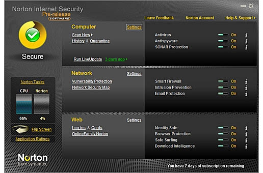 Symantec Norton Internet Security 2010 beta